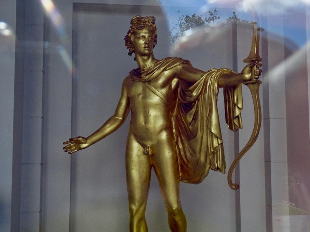 Gold Apollo sculpture David Roche Foundation Museum