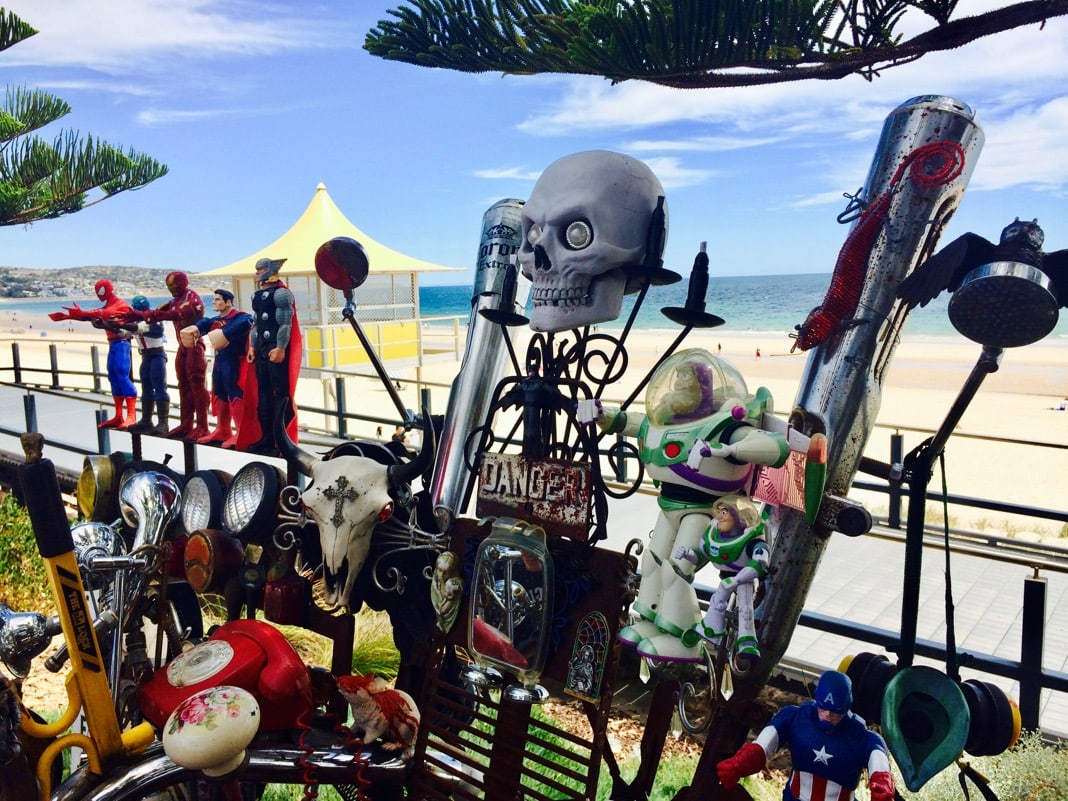 Patritti Brighton Jetty Sculptures Superheroes and Junk