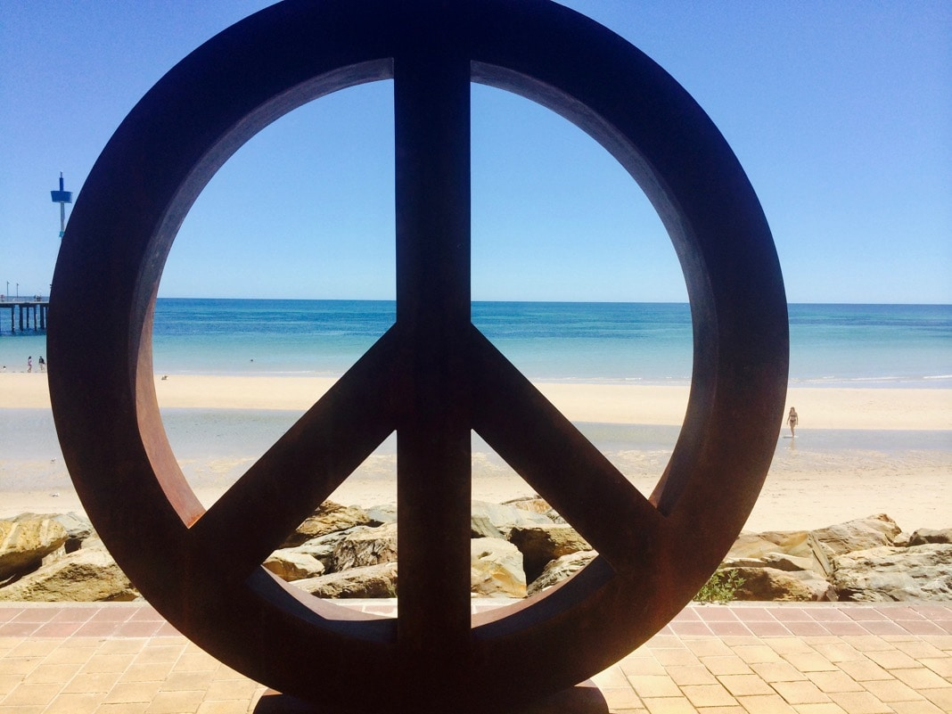 Peace Sign at Brighton Beach Sculptures
