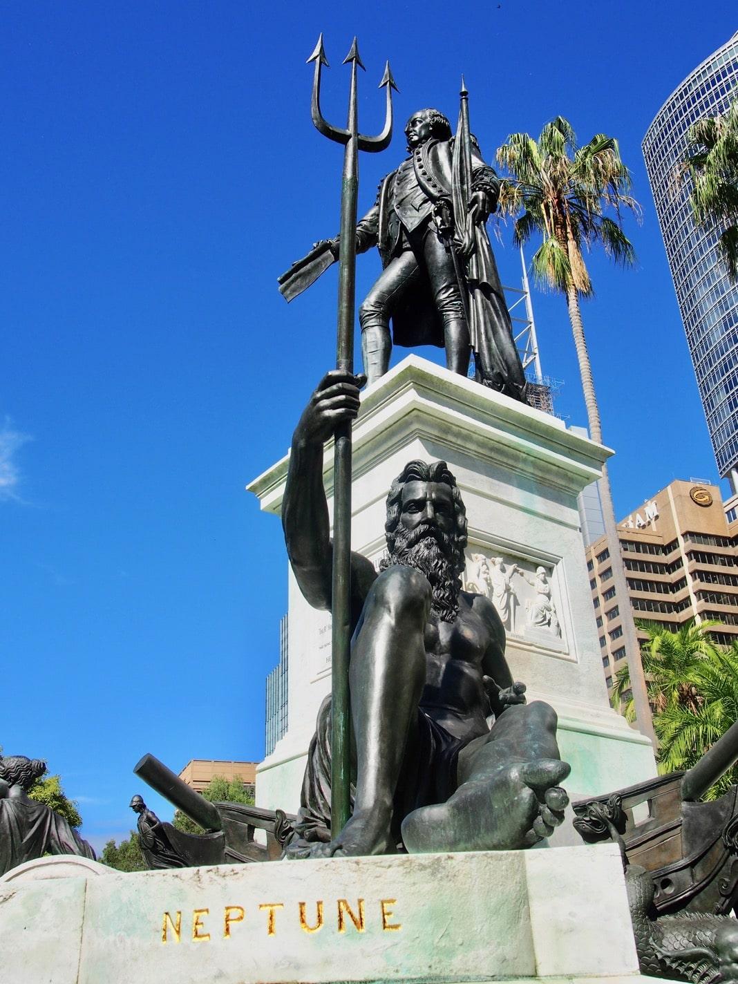 Neptune Statue on the Governor Phillip Fountain Royal Botanic Gardens Sydney