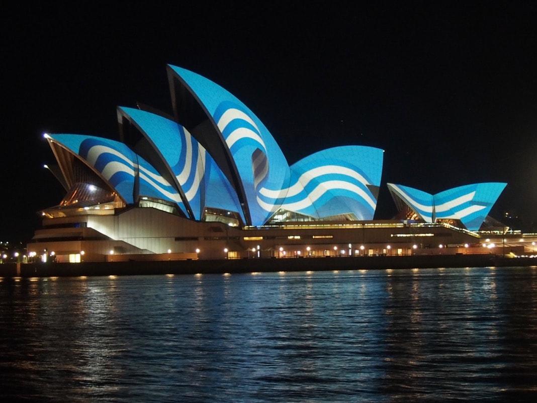 Sydney Opera House Greek Flag Light Bicentennial Greece