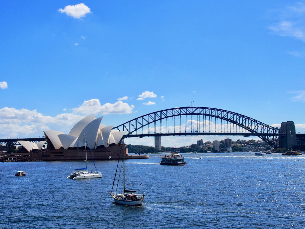 View of Sydney Opera House and Sydney Harbour Bridge at Mrs Macquaries Chair