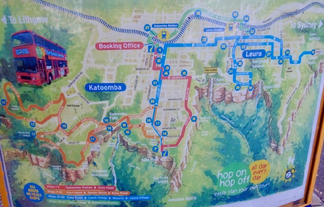 Bus Map of Katoomba and Leura