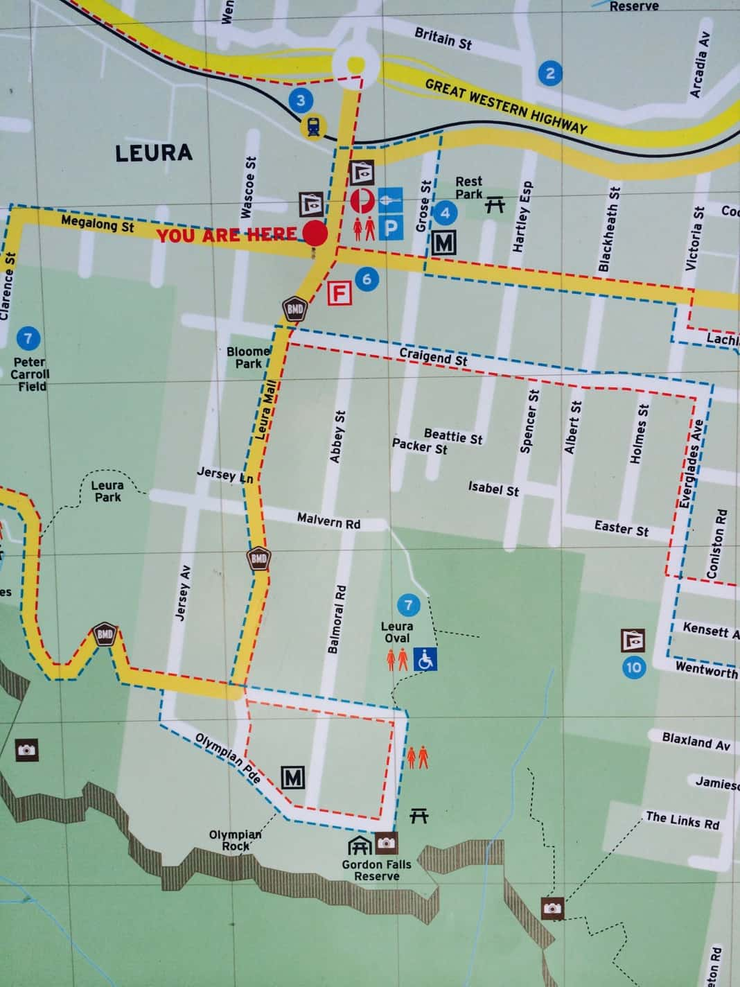 Street Map of Leura showing directions to Olympian Rock