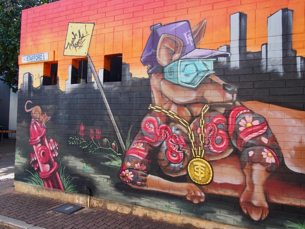 Adelaide CBD street art mural kangaroo