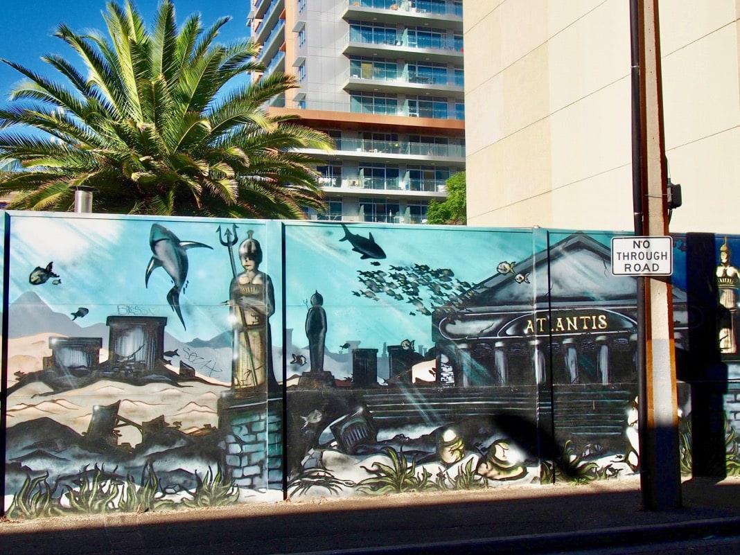 Adelaide CBD street art mural of Atlantis