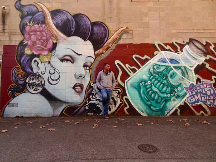 Adelaide CBD street art rear laneway Oxford Hotel