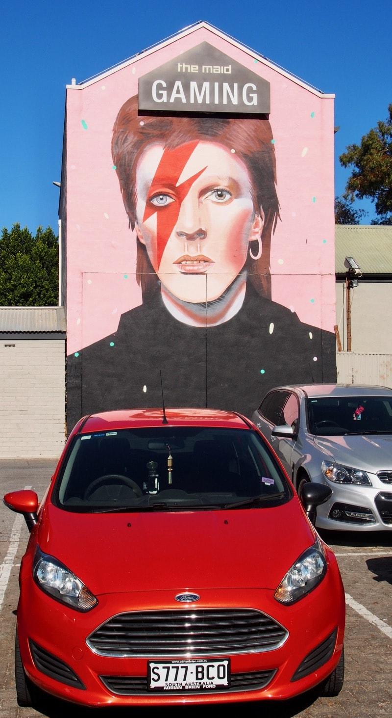 Adelaide street art Kent Town David Bowie Mural