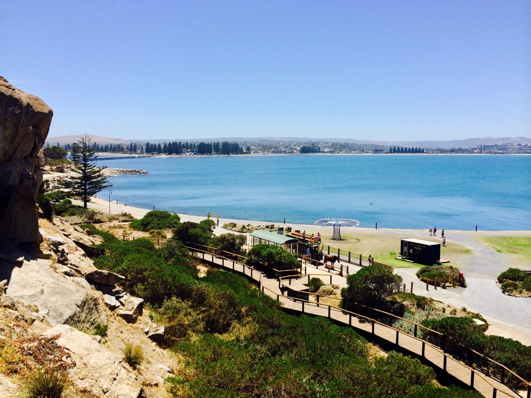 Views to Victor Harbor from Granite Island Staircase
