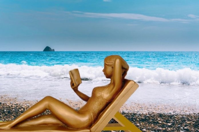 Reading a romance book in Greece