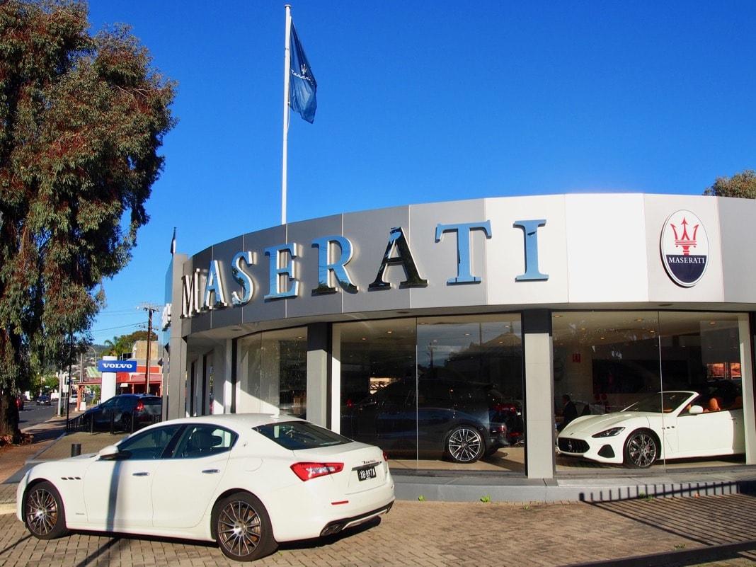 Maserati car and trident logo